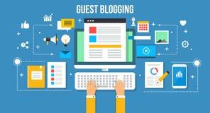 Invité blogging - illustration plate de vecteur de conception Concept de bannière de Web Images libres de droits