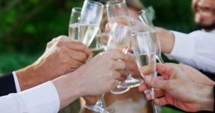 Invité grillant avec des verres de champagne avec les jeunes mariés 4K 4k banque de vidéos