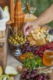 Invités au mariage mangeant du fromage et du fruit Photographie stock