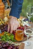 Invités au mariage mangeant du fromage et du fruit Photographie stock libre de droits