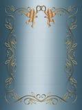 Invitación 3D azul de la boda o del partido Imagenes de archivo