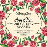 Invitación asombrosa de la boda en el ejemplo del vector de la acuarela Fotos de archivo libres de regalías