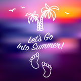 Invitación azul de la tarjeta de verano de la puesta del sol del rayo Imagen de archivo libre de regalías