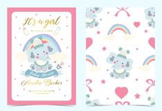 Invitación azul rosada del cumpleaños con el pacificador, la botella, la leche, el paño, el corazón y el elefante libre illustration