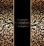 Invitación barroca antigua de la boda, oro en negro Foto de archivo libre de regalías