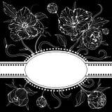 Invitación blanco y negro con las flores del peony Fotografía de archivo