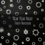 Invitación coloreada obra clásica negra en partido del Año Nuevo Imágenes de archivo libres de regalías