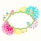 Invitación colorida de la fiesta de jardín del pájaro de la flor Imagen de archivo libre de regalías