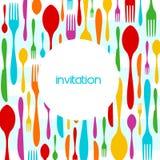 Invitación colorida del modelo de la cuchillería