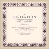 Invitación con el marco de la frontera en estilo del renacimiento Fram de la plantilla Foto de archivo libre de regalías