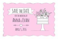 Invitación con lilly el pastel de bodas imagen de archivo