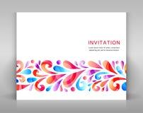 invitación con los elementos florales Foto de archivo libre de regalías