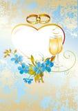 Invitación de boda con las flores azules stock de ilustración