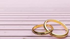Invitación de boda - el fondo rosado y dos anillos de oro se unieron a junto para siempre con el ` de las palabras todo mi ` del  ilustración del vector