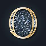 Invitación de boda Letra O del vector Alfabeto de oro en un fondo oscuro Un símbolo heráldico agraciado Las iniciales del monogra libre illustration