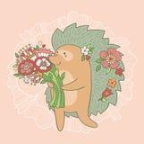 Invitación de boda linda Erizo con las flores en amor Imagenes de archivo