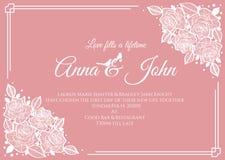 Invitación de boda - marco floral de la rosa abstracta del blanco en diseño rosado de la plantilla del vector del fondo Fotografía de archivo libre de regalías
