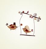 Invitación de boda; pájaro del novio que da una flor Imagenes de archivo