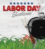 Invitación de la barbacoa del Bbq del Día del Trabajo foto de archivo libre de regalías