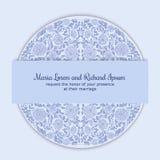 Invitación de la boda adornada con el ornamento redondo Fotos de archivo