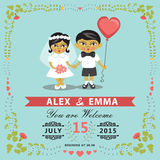 Invitación de la boda con la novia asiática del bebé, novio, marco floral EPS Fotos de archivo
