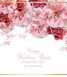 Invitación de la boda con vector del diseño floral Cartel hermoso de las flores del vintage Colores rosados de moda del pastelate stock de ilustración