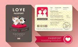 Invitación de la boda del pasaporte Fotos de archivo libres de regalías