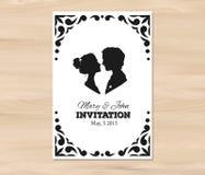Invitación de la boda del vector con las siluetas del perfil Fotografía de archivo