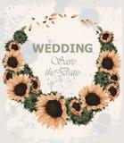 Invitación de la boda del vintage con vector de la guirnalda de los girasoles Estilo hermoso del grunge de la tarjeta de verano d Fotos de archivo libres de regalías
