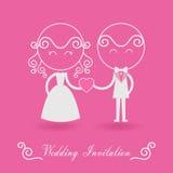 Invitación de la boda en fondo rosado Imágenes de archivo libres de regalías