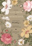 Invitación de la boda Malva hermosa del hibisco de Rose de la manzanilla de las flores Imágenes de archivo libres de regalías
