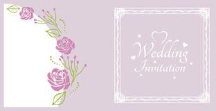 Invitación de la boda Muestra para la postal con las rosas púrpuras foto de archivo libre de regalías