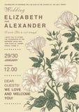 Invitación de la boda Tarjeta hermosa de la petunia de las flores Capítulo, etiqueta Ejemplo del victorian del vector