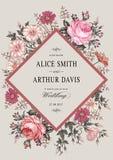 Invitación de la boda Tarjeta realista hermosa de Rose de la manzanilla de las flores Capítulo, etiqueta Ejemplo del victorian de