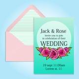 Invitación de la boda y sobre beautuful Imagenes de archivo