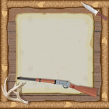 Invitación de la caza con el marco de madera Imágenes de archivo libres de regalías