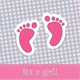 Invitación de la ducha de la tarjeta de llegada del bebé Fotografía de archivo libre de regalías