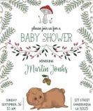 Invitación de la fiesta de bienvenida al bebé con el oso, la seta, las flores, las hojas, el helecho y la bellota libre illustration