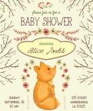 Invitación de la fiesta de bienvenida al bebé con el zorro, las flores, las hojas y las ramas de árbol ilustración del vector
