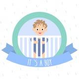 Invitación de la fiesta de bienvenida al bebé con el niño pequeño lindo Ilustración del vector Imagen de archivo