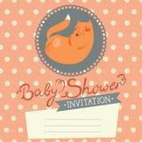 Invitación de la fiesta de bienvenida al bebé con el zorro lindo Foto de archivo