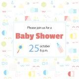 Invitación de la fiesta de bienvenida al bebé en el estilo neo de Memphis stock de ilustración