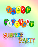 Invitación de la fiesta de cumpleaños de la sorpresa Fotos de archivo libres de regalías