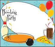 Invitación de la fiesta de cumpleaños del bowling stock de ilustración