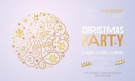 Invitación de la fiesta de Navidad para la plantilla del diseño de la celebración del día de fiesta de Feliz Navidad del español  stock de ilustración