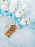 Invitación de la tarjeta de cumpleaños del niño del bebé en fondo en colores pastel Fotos de archivo libres de regalías