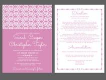Invitación de la tarjeta de la invitación de la boda con los ornamentos Foto de archivo libre de regalías
