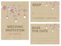 Invitación de la tarjeta de la invitación de la boda con los tarros Foto de archivo