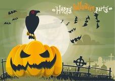 Invitación de la tarjeta de felicitación para un partido de Halloween en tonos verdes Imágenes de archivo libres de regalías