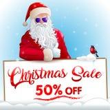 Invitación de la venta de la Navidad con Papá Noel y el piñonero libre illustration